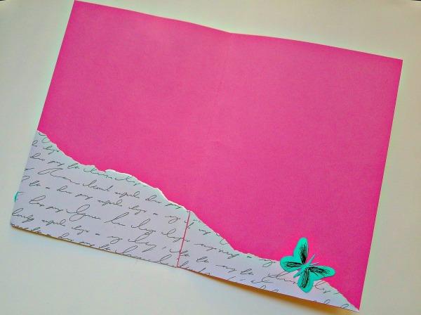 Carte rose papillon vert